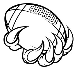 Monster animal claw holding American Football Ball