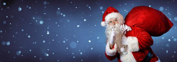 Santa Claus Carrying Bag In Night