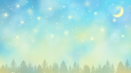 夜明けの満天の星空と新月