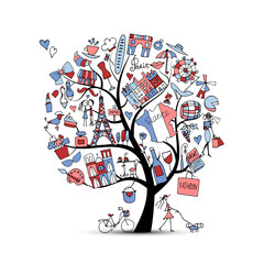 I love France, art tree. Sketch for your design