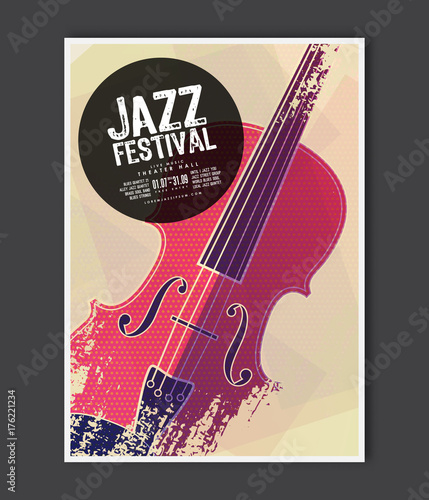 music poster template vector jazz music flyer background with