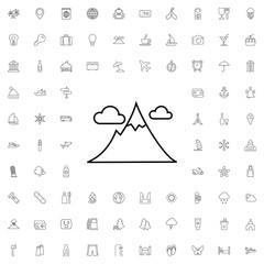 Mountain icon. set of outline tourism icons.