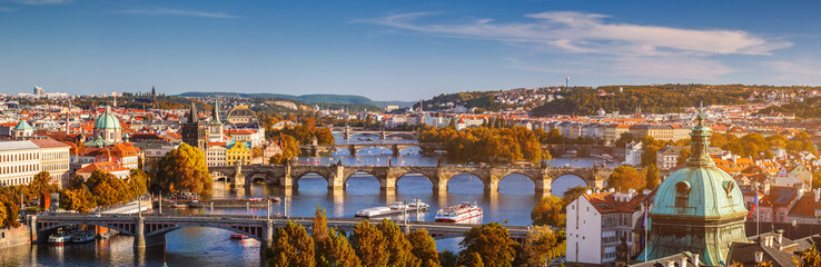 Prague, Czezh Republic. Scenic autumn aerial view of the Old Town with red foliage