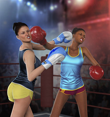 Young Women Boxing Fight