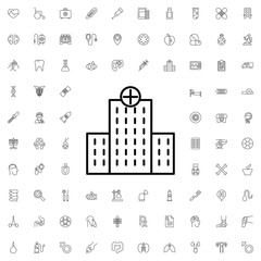 Hospital icon. set of outline medicine icons.