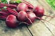 Fresh beetroot on rustic wooden background. Harvest vegetable cooking conception . Diet or vegetarian food concept
