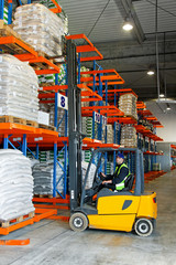 Forklift loading in warehouse