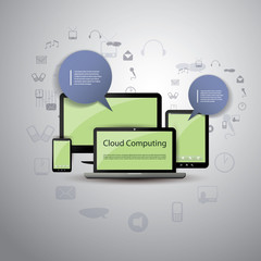 Blue and Green Cloud Computing Concept Design in Editable Vector Format