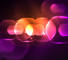 Blurred transparent hexagons on dark, digital abstract background