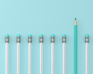 Blue pencil and white pencil on blue pastel background. minimal creative concept. The idea about the business leadership, think different.