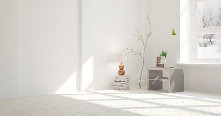 White empty room with flower. Scandinavian interior design. 3D illustration