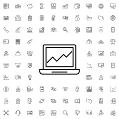 Graph on laptop icon. set of outline finance icons.
