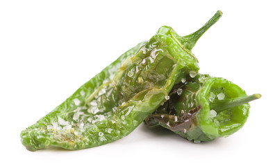 Pimientos de Padron isolated on white background