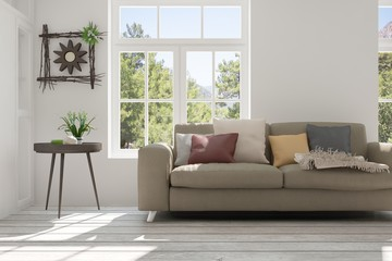 White room with sofa and summer landscape in window. Scandinavian interior design. 3D illustration
