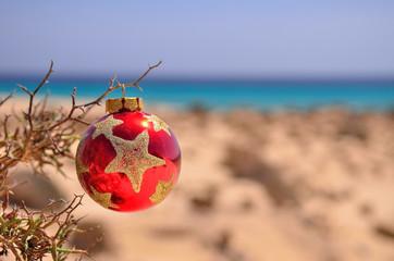 christmas ball on the beach