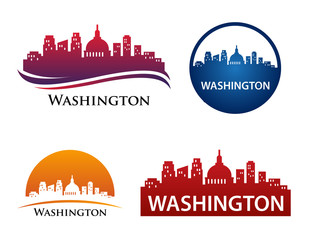 Washington City Skyline Logo Template