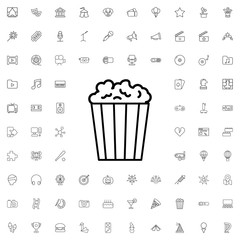 Popcorn icon. set of outline entertainment icons.