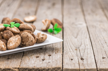Shiitake mushrooms, selective focus