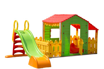 Children's slide and toy house isolated on white background