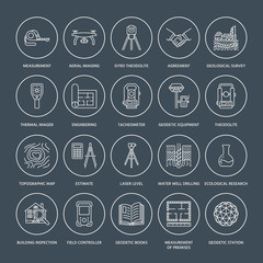 Geodetic survey engineering vector flat line icons. Geodesy equipment, tacheometer, theodolite, tripod. Geological research, building measurement inspection illustration. Construction service signs.