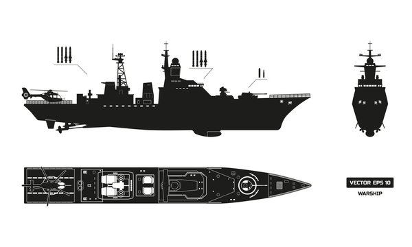 Detailed silhouette of military ship. Top, front and side view. Battleship model. Industrial drawing. Warship in flat style