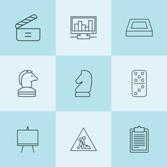 Set of 9 board outline icons