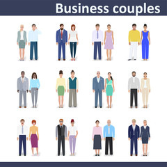 Business couple, vector illustration
