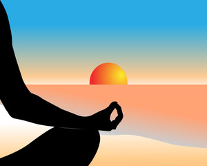 Hand of a person meditating in a yoga pose on the beach on the sunset. Healthy lifestyle and mindful meditation concept illustration vector.