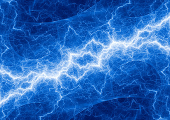 Blue electrical background, plasma and lightning abstract