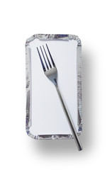 Takeaway tray and fork