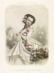 Old illustration depicting woman smelling flowers. By  Alophe, publ. in New York, 1851