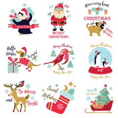 Set of holiday pictures, images with cute animals and decorative elements.