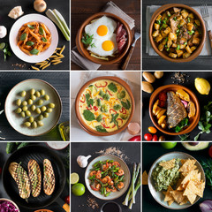 Collage from different pictures of tasty food