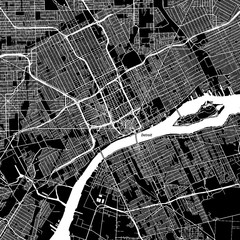 Detroit, Michigan. Downtown vector map.