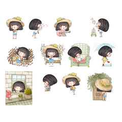 Character of cute girl in many activities and travel with camera vintage style