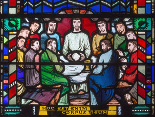 LONDON, GREAT BRITAIN - SEPTEMBER 16, 2017: The stained glass of Last Supper in church St Etheldreda by Charles Blakeman (1953 - 1953).