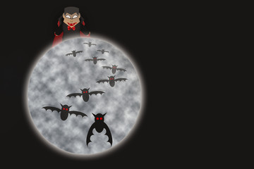 Dracula and bat flying with full moon at night background