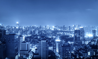 night cityscape in blue tone filter for hi-tech concept