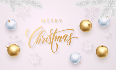Merry Christmas greeting card of golden decoration balls, gold glittering confetti and stars glitter on premium white background. Vector Christmas or New Year wish calligraphy text for winter holiday