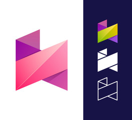 N letter logo template. Vector abstract material design style