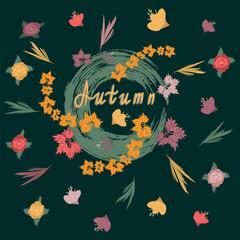 Autumnal wildflowers - hand inscription - dark green background - art creative vector