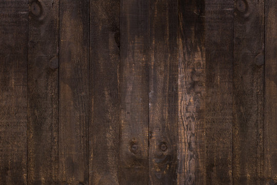 Top View Of Dark Brown Natural Rustic Wood Texture Abstract Background. Hardwood, Old Panels, Grunge Style Wooden Surface Table To Use For Wallpaper And Blank Space For Text