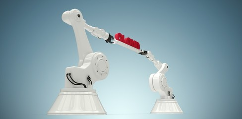 Composite image of robotic hands holding red cloud text