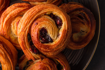 French traditional pastries. Pains aux raisins.