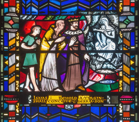 LONDON, GREAT BRITAIN - SEPTEMBER 16, 2017: The stained glass of Isaiah predict the virgin birth of Jesus in church St Etheldreda by Charles Blakeman (1953 - 1953).
