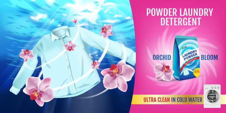 Orchid fragrance Laundry detergent ads. Vector realistic Illustration with shirt is washed in water and product package. Horizontal banner
