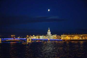 Night cityscape, river and bridge in Saint-Petersburg