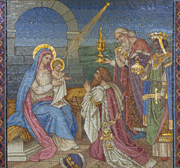 LONDON, GREAT BRITAIN - SEPTEMBER 17, 2017: The mosaic of Adoration of the Magi in church St. Barnabas by Bodley and Garner (end of 19. cent.).