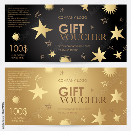 Gift voucher with gold stars christmas gift certificate vector gift voucher with gold stars christmas gift certificate vector template for gift card yadclub Gallery