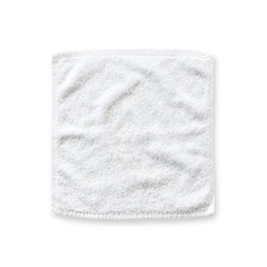 White cotton towel mock up template square size isolated on white background with clipping path, flat lay top view